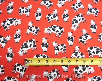 Farm Life Cows Cute MOO w Black Spots on Red  BY YARDS Henry Glass Cotton Fabric