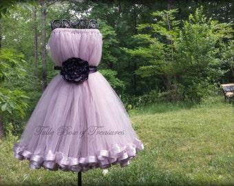 Sleeveless Silver Junior Bridesmaid Dress with Black Flower and Sash