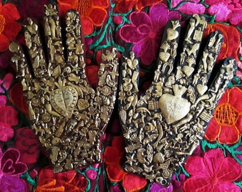 Ex Voto Wood Hand, Healing Hand, Mexican Milagro Charms, Sacred Heart, Black Right Hand or Red Left Hand