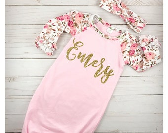 Coming home outfit etsy personalized newborn girl coming home outfit girl gown baby girl gown baby shower gift floral pink negle Image collections