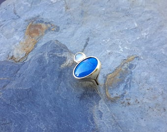 No.160  Lapis with white Cats Eye Moonstone Ring