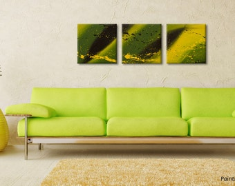Abstract canvas art, Jamaica wall hanging, Wall Art acrylic painting, Original painting Canvas Wall art Triptych by Rasko