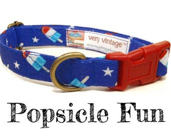 "Whimsical American Red White Blue Popsicle Playful Summer Fun Dog Collar - Antique Metal Hardware - ""Popsicle Fun"""