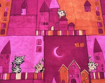 Material Off Cut - Cat Design - Pink Orange. date unknown Size 63cm x 153cm