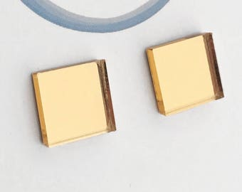 Mirrored Acrylic Studs - Square - Gold