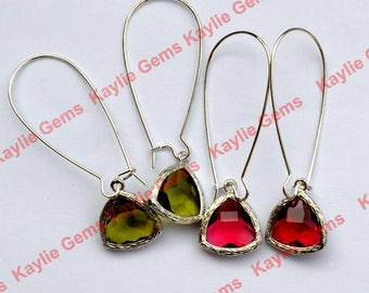 Earrings Kidney Wire Silver Faceted Triangular Glass Jewel Silver/ Gold Plated 2 inches