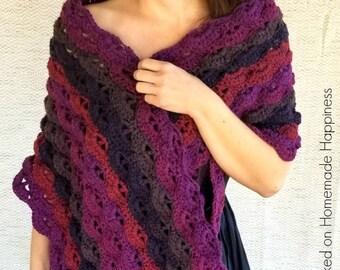 Crochet Wrap PATTERN - Crochet Shawl Pattern - Caron Cake Pattern - Caron Big Cake - Crochet Scarf Pattern
