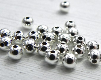Sterling Silver 4 mm Round Bead 50 pcs Sterling Silver Jewelry Supply  Jewelry Findings
