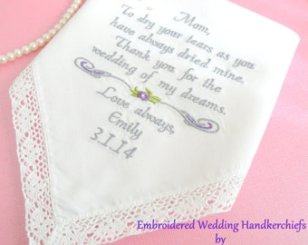 Mom Gift, Mother of the Bride, = Embroidered Wedding Hankerchief, = Wedding Gift for Mom, PURPLE WEDDING, Wedding Gifts by Canyon Embroidery