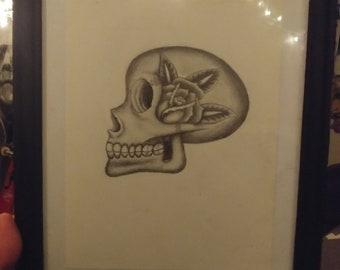 Framed graphite skull drawing