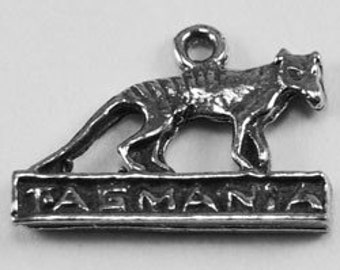 2 x Tasmania & Tiger pendant charm  1 bail pewter made in Australia Z292