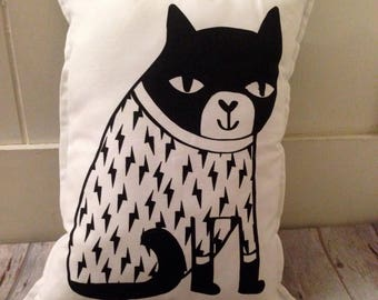 black cat pillow, cat cushion, black white pillow, modern pillow, cat plushy pillow, living room decor, kids room decor, unique pillows