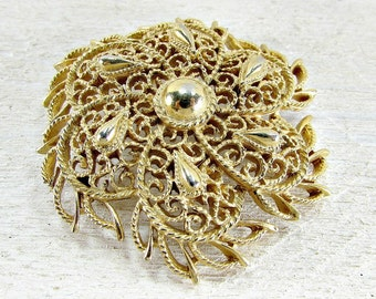 Vintage 1970s CROWN TRIFARI Brooch Pin- Large Gold Spiral Filigree Flower- High End Designer Costume Jewelry- Christmas Gift for Grandma