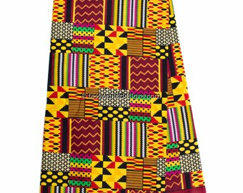 Faux Patchwork kente fabric 6 yards /dark Red patchwork Kente print/  Kente Cloth/ Prom dress fabric/ African Fabric / KF314