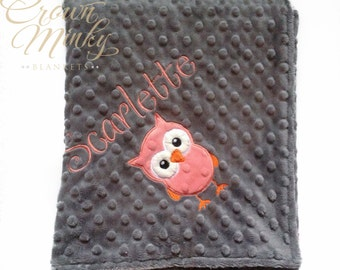 Owl Personalized Baby Blanket, Choose your Colors, Minky blanket