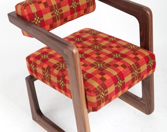 James occasional home office lounge chair handmade from black walnut upholtered in Melim Tregwynt Welsh tapestry
