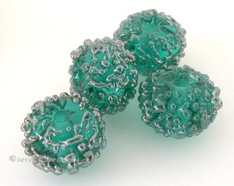 TEAL SILVER Luster Sugar Lampwork Glass Bead Set Handmade - taneres - more color options