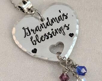 Grandma's Blessings - Grandchild Necklace - Gift for Grandmother - Grandchildren Necklace - Grandbaby Jewelry - We Love Grandma Necklace