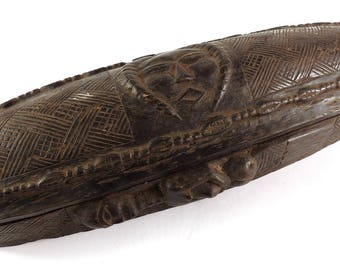 Kuba Box Carved Lidded with Face Congo Big SUPERB 119317