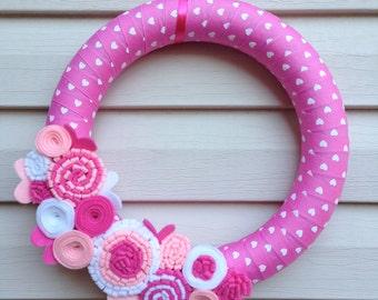 READY to SHIP - Valentine's Day Wreath - Pink Heart Ribbon Wreath - Valentine Wreath - Valentines Day Decoration - Heart Wreath -Heart Decor