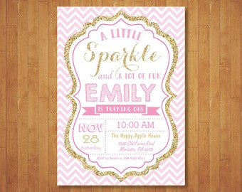 Pink and Gold Invitation. First 1st Birthday Invitation. Girl Birthday Invitation. Gold Glitter. Kids Birthday. Printable Digital.