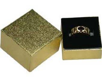 Gold Foil Square Ring Box with Black Foam (Dozen)(DBX3801G)