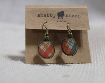 Shabby Style dangly earrings- red and blue plaid