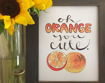 Kitchen Art, Fruit Art, Orange Art, Valentine Gift, Boyfriend Gift, Girlfriend Gift, Husband Gift, Wife Gift, Handmade Watercolor Art Print