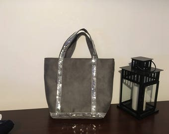 Grey suede tote bag and straw grey claire Vanessa Bruno style