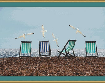 Sea Gulls And Deck Chairs Cross Stitch Pattern /Digital PDF Files /Instant downloadable