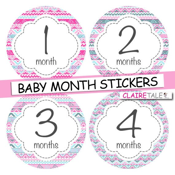 Baby girl month stickers pink and blue tribal INSTANT DOWNLOAD stickers / monthly stickers baby shower gift