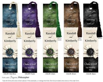 Personalized Laminated Wedding Bookmark, Customized Bookmarker, Wedding Favor Bookmarks, Bookmarkers, WB3