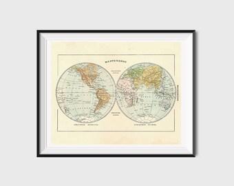 Printable world map etsy printable world map poster printable map print vintage world map art antique world gumiabroncs Image collections