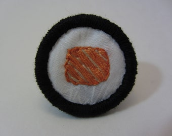 Salmon Roll Sushi Hand Embroidered Merit Badge-Style Patch