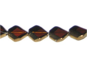 14mm Deep Gold Vintage-Style Glass Bead, approx. 5 beads
