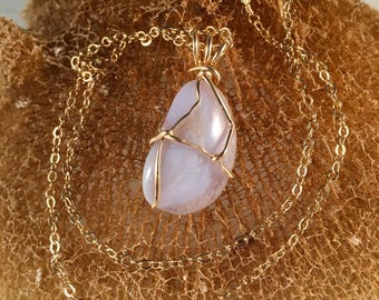 """Blue Lace Agate Wire Wrapped Pendant Wrapped in 14kt Gold Filled Wire 1.5 Inches Long .75 Inches Wide on 14kt Gold 18"""" Chain, One of a Kind"""