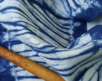 Blue Shibori Tea Towel, Blue Kitchen Towel, 100% Flax Linen