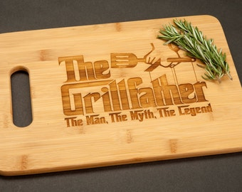 The Grillfather Grill Father Bamboo Cutting Board Funny Gift for Him Dad Father's Day Godfather Movie