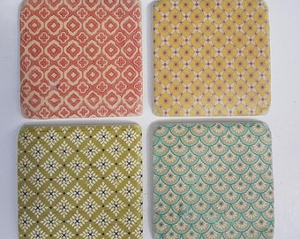 Set of Four Ceramic Moroccan inspired Contemporary Tile Coasters ~ Living / Dining room
