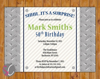 Surprise Birthday Masculine Invite Diamond Plated Silver Blue Green Tool Mechanic Themed 40th 50th 60th Printable 5x7 Digital JPG File(505)