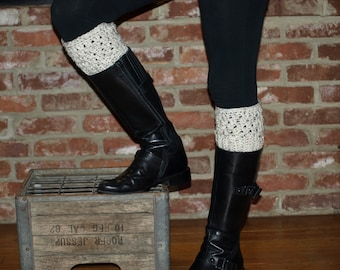 Boot Cuffs- Oatmeal Boot Cuffs- Womens' Boot Cuffs- Crochet Boot Cuffs- Boot Socks- Boot Toppers- GladstoneCottage