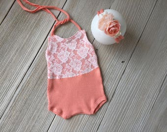 Peach Lace Newborn Romper Photo Prop SET with Headband - Newborn Baby Girl - Ready to Ship