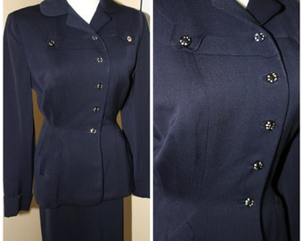 Vintage 40's Gabardine Wool Woman's Suite - Navy Blue_Classic