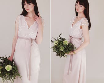 SALE - Blush pink simple bridal gown, Delphine lace bodice, puddle train, cap sleeves, ready to wear sz uk 10, tall, long