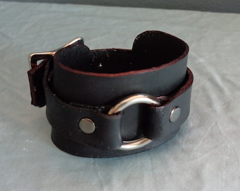 Leather Cuff by Artrix Leather and Fine art -Leather Cuff with Ring