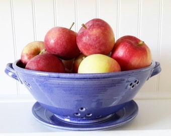 pottery fruit strainer, ceramic colander, ceramic fruit bowl, fruit bowl, cobalt blue fruit bowl, original gift, grape bowl,
