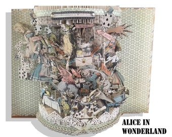 Alice in Wonderland Altered Book  1943  altered book with colored  Illustrations great Mother's Day Gift