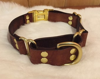 Personalized Brown Leather Martingale Dog Collar With Quick-Release Buckle