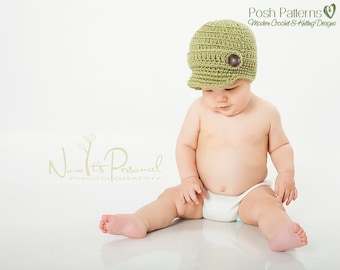 Crochet Pattern - Baby Crochet Pattern - Newsboy Hat Pattern - Crochet Hat Pattern - Kids Crochet Pattern - 6 Sizes Baby to Adult - PDF 166