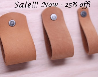 SALE!!! Handcrafted in USA: Caramel Light Brown All leather wide drawer / cabinet loop pulls With Hardware!  3 sizes wide medium thin